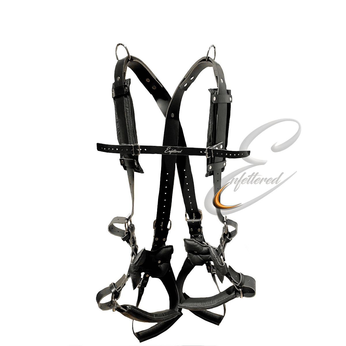 Enfettered Leather Bondage Suspension Harness with Foot Support