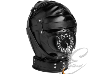 Leather Hood with open mouth Gag