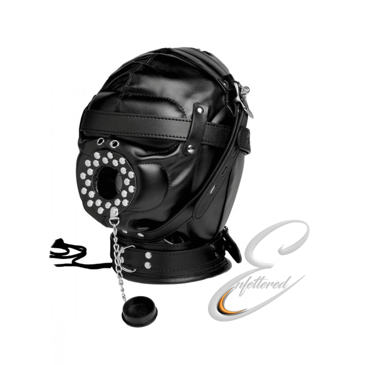 Enfettered Leather Deprivation Hood with Open Mouth Gag