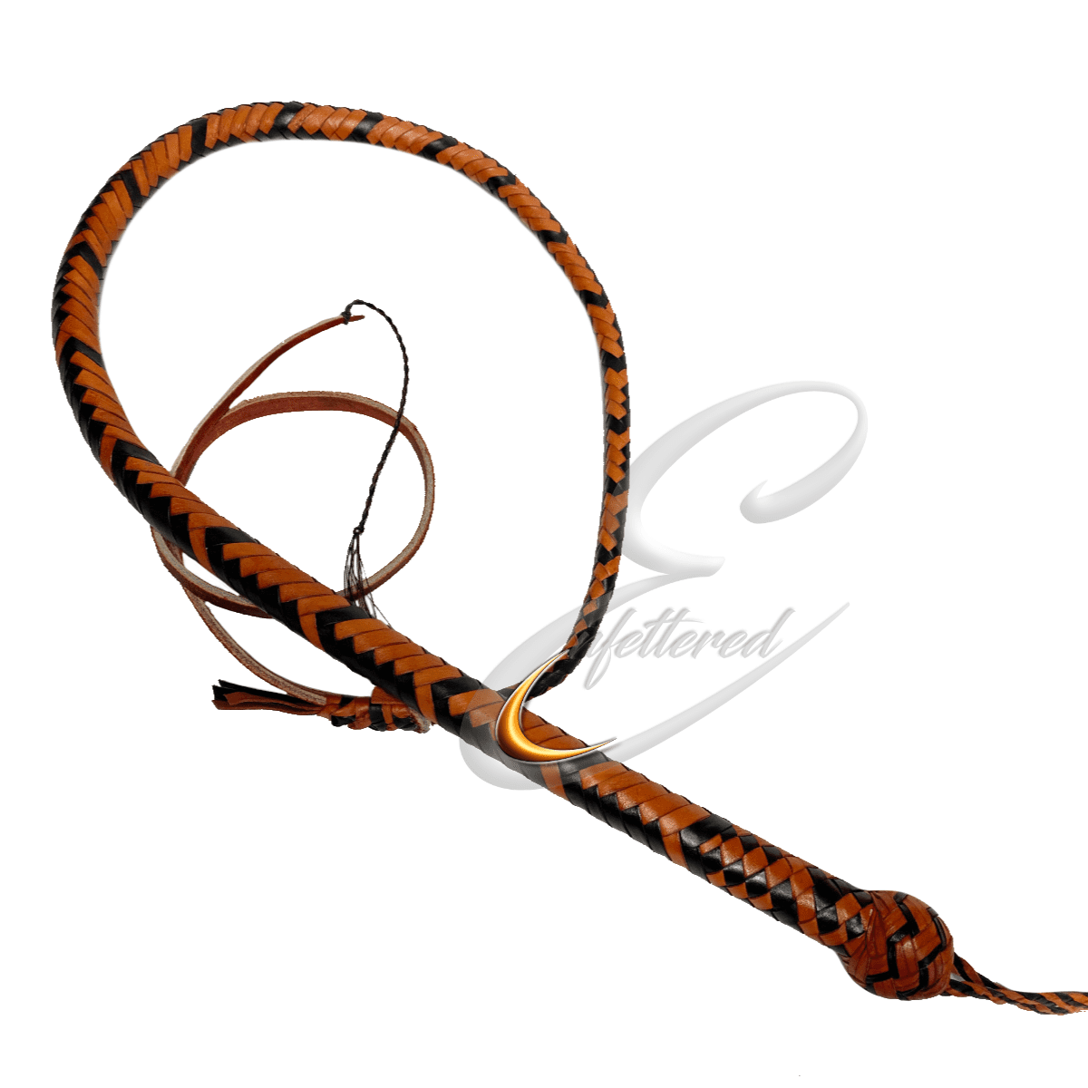 Enfettered Kangaroo Hide Leather Snake Whip 3ft Black/Saddletan