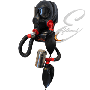 Enfettered Gas Mask Aroma Rebreather System 2 ports and back zip.