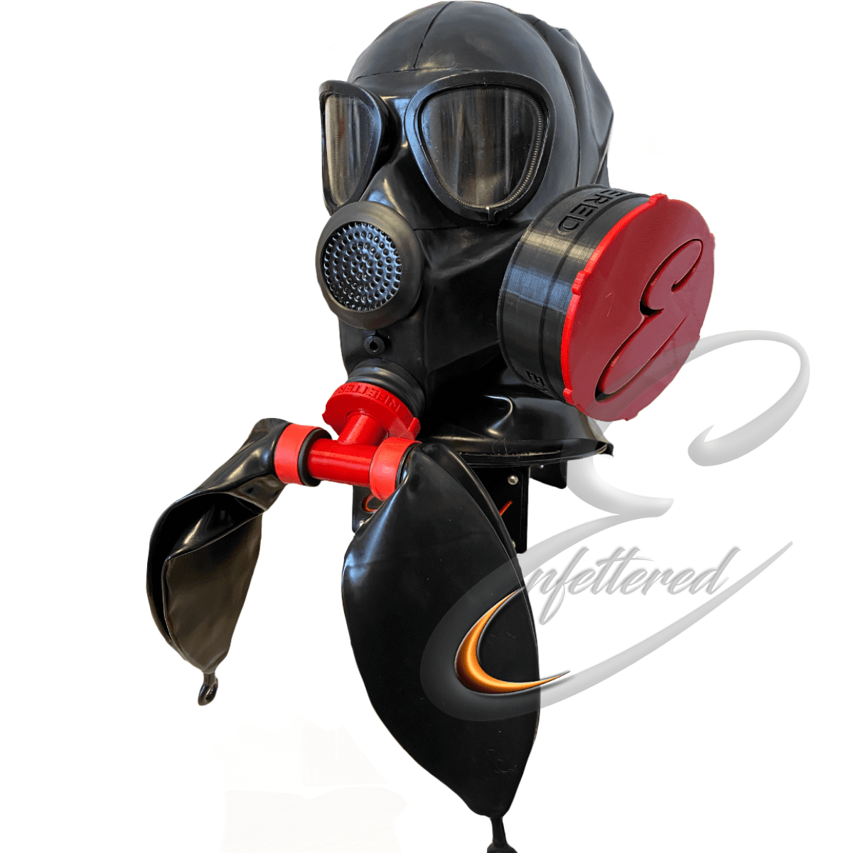 Enfettered Gas Mask Hood with Double Rebreathers and Sniff Filter