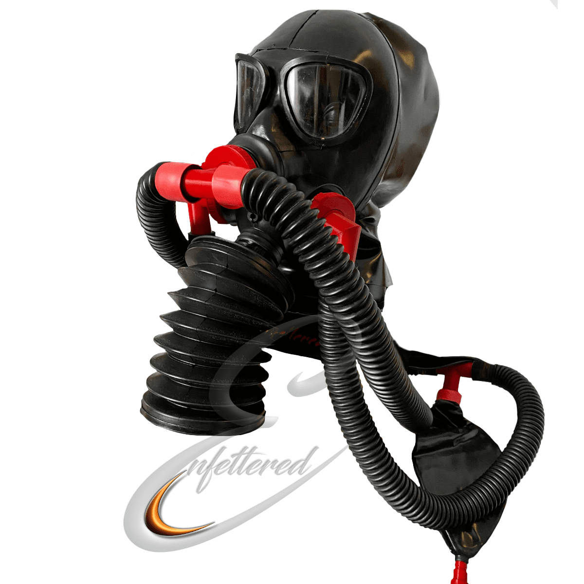 Enfettered Gas Mask Hood with Double Ring Tube Bellows System