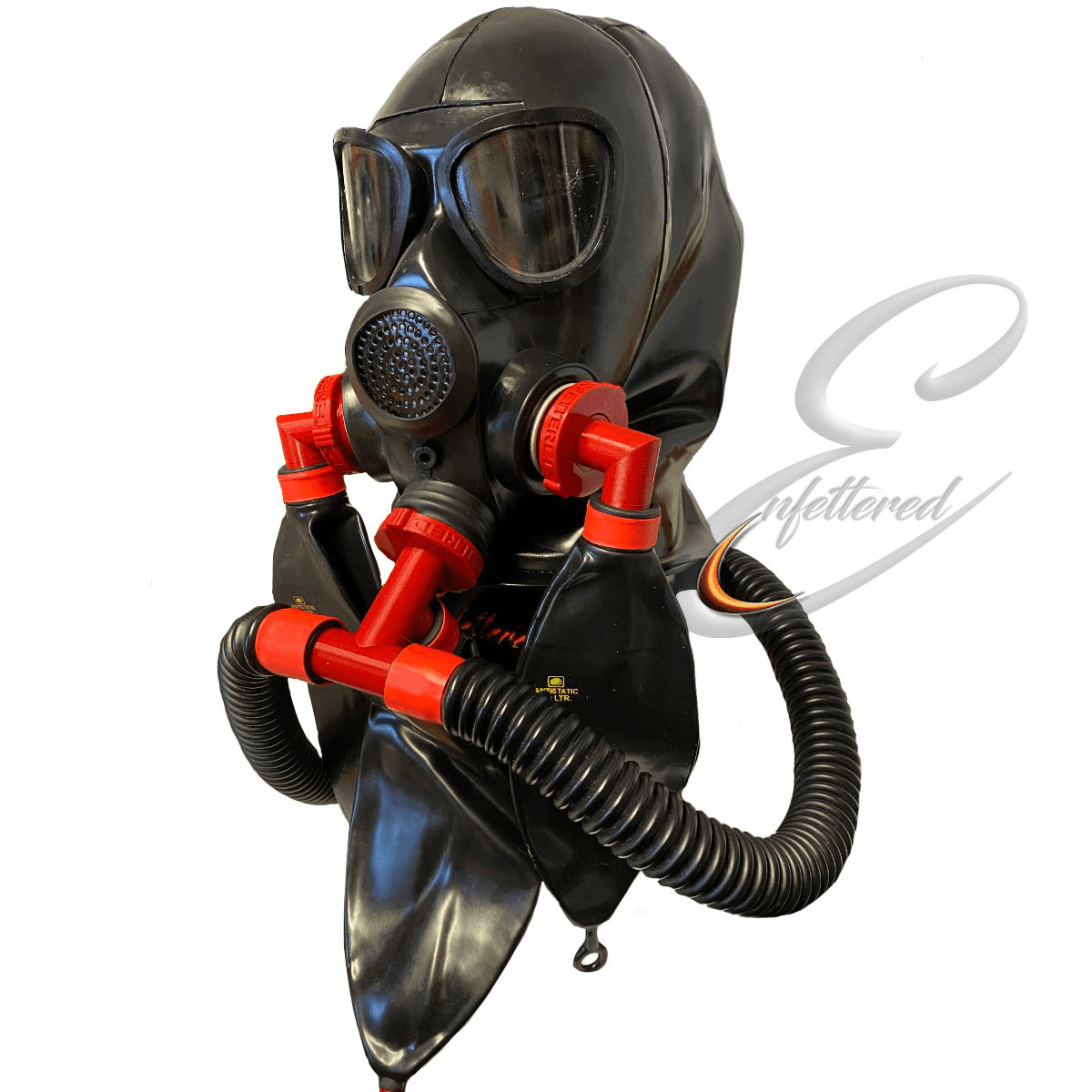 Enfettered Gas Mask Hood with Removable Reverse Ring Tube System