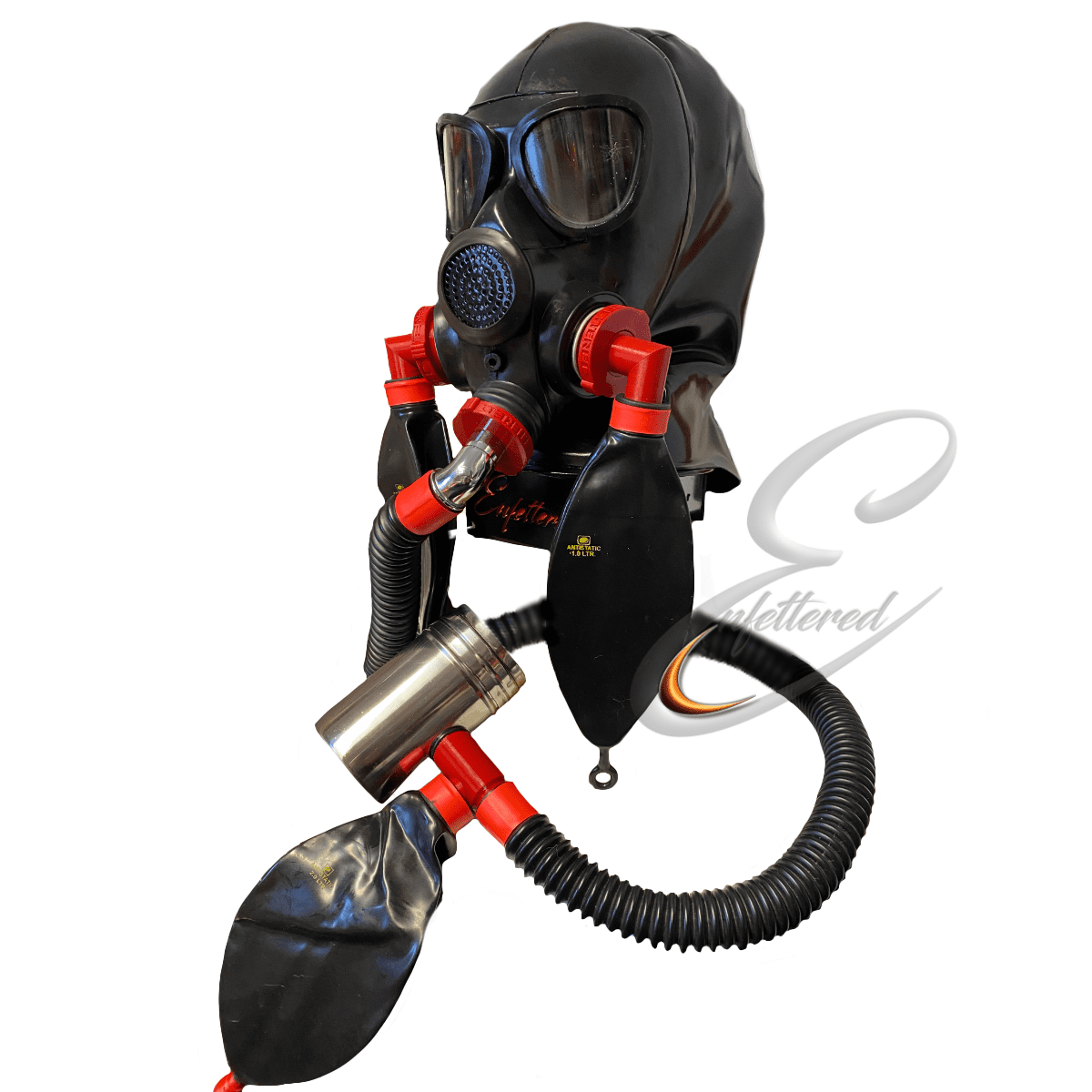Enfettered Gas Mask Hood with Angled Rebreathers and Aroma System