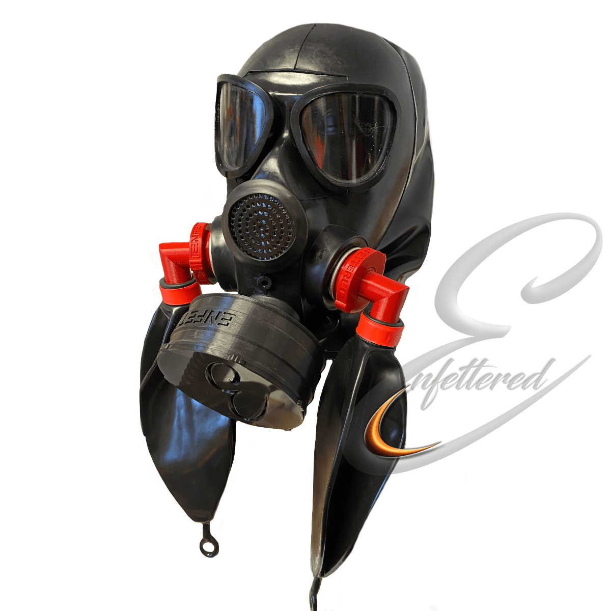 Enfettered Gas Mask Hood with Angled Rebreathers & Sniff Filter